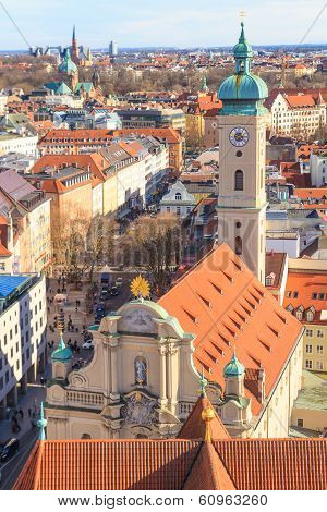 Munich Panorama with old city hall Holy Spirit Church and Viktualienmarkt Bavaria Germany poster