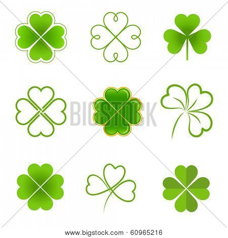 Set of clovers with four and three leaves