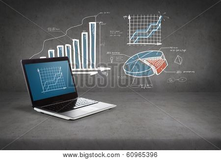 technology and advertisement concept - laptop computer with graph on screen