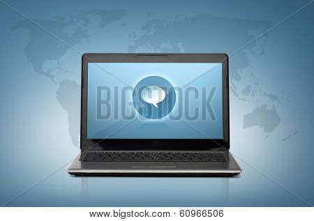 technology and advertisement concept - laptop computer with text bubble on screen