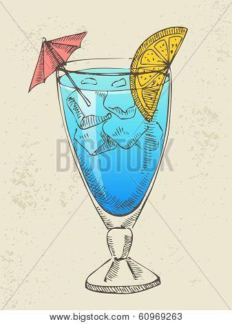 Hand drawn illustration of blue cocktail.