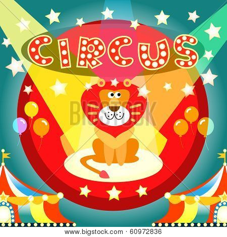 Lion on the circus arena poster vector illustration template poster