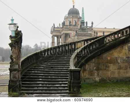 Stairway of The Sanssouci Palace in winter. Potsdam, Germany poster
