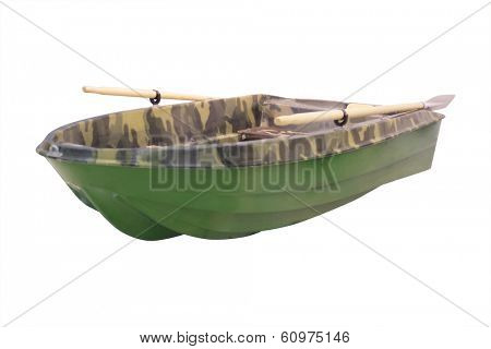 pair-oar boat under the white background