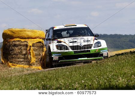 Trier, Germany - August 21, 2013: Upcoming talent Sepp Wiegand, attracted attention again at ADAC Rally Deutschland 2013.