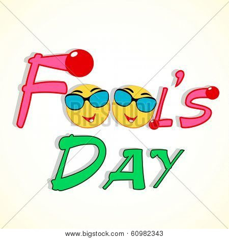 Happy Fool's Day funky concept stylish text and funny faces. poster