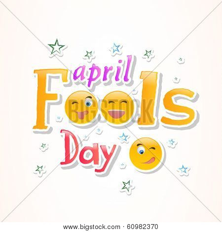 Happy Fool's Day funky concept with colorful shiny text on white background.