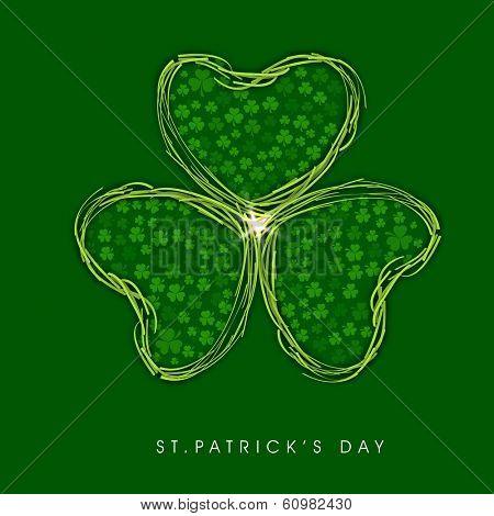 Happy St. Patrick's celebrations flyer, banner or poster with beautiful Irish lucky shamrock leaf on green background.  poster