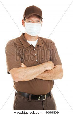Delivery Man Wearing Flu Mask