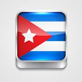 vector 3d style flag icon of cuba poster