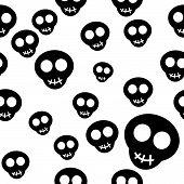 Seamless pattern with black skulls on white background. Vector illustration. poster