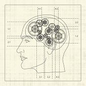 Gear of the human mind, detailed draft, vector illustration poster