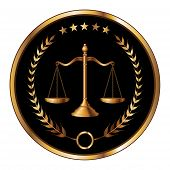 Illustration of a design for law, lawyers, or law firms that could be used as a logo or seal in striking reflective gold and black. Includes scale of justice, laurel and gold stars. poster