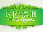 Happy St. Patricks Day celebrations concept with stylish text decorated by Irish lucky four leaf clover on abstract grey background. poster