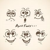 Happy Fool's Day funky concept with funny faces set on abstract background. poster