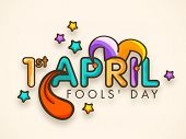 Happy Fool's Day funky concept with colorful stylish text on abstract background. poster