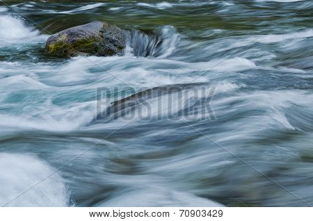 Closeup of flowing water with sea green and blue colors