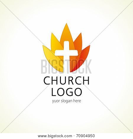 Cross on fire christian church logo. Vector icon for churches, christian organizations, bible colleges and conferences. Fire sign in a shape of water lily flower.