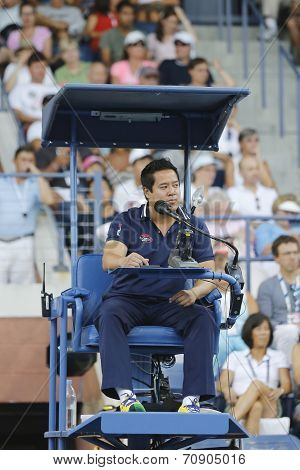 Chair umpire James Keothavong during first round match at US Open 2014