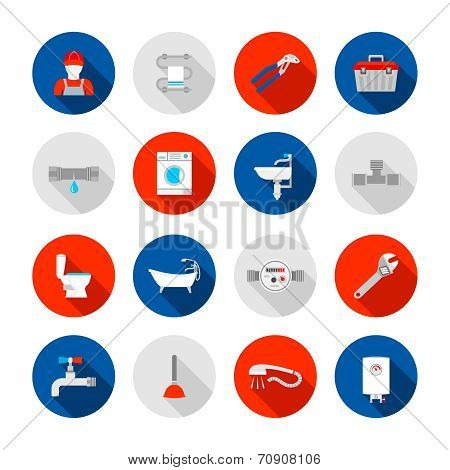 Plumbing service shower bathtub  and sink drain installation tools icons set abstract solid isolated vector illustration poster