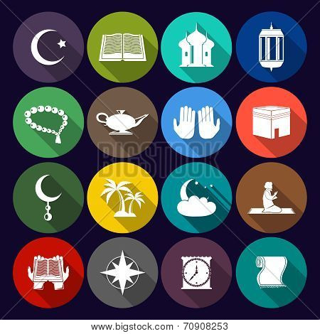 Islam Icons Set Flat