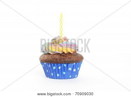 chocolate cupcake with birthday a candle