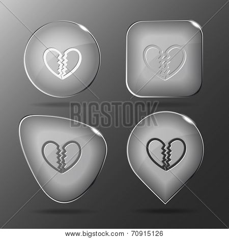 Unrequited love. Glass buttons. Raster illustration.