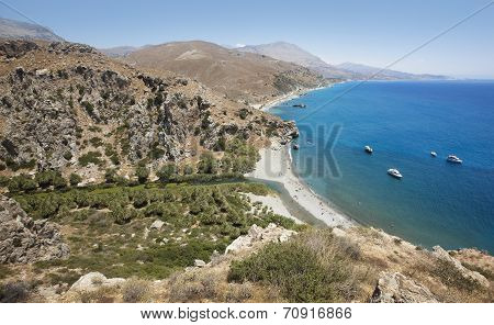 Preveli Beach With Palm Trees In Crete. Greece
