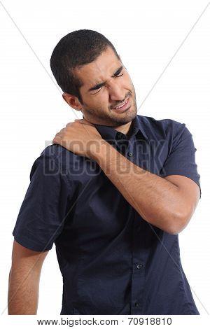 Arab Man Complaints With Shoulder Ache