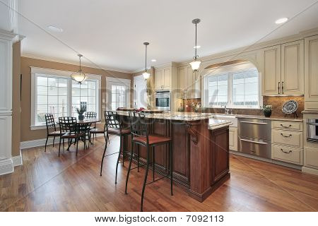 Kitchen With Two Tiered Island