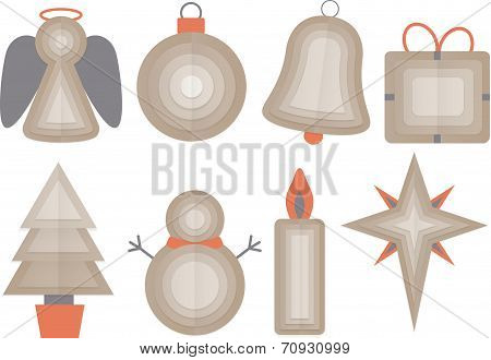 Set Of Christmas Objects