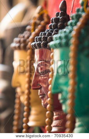 KATHMANDU, NEPAL - NOV 29, 2013: Masks, souvenirs in street shop at Durbar Square. Preference for construction of royal palaces at Durbar Square dates back to the 3 century.