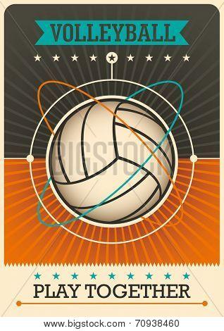 Retro volleyball poster design. Vector illustration.