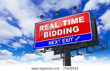 Real Time Bidding - Red Billboard on Sky Background. Business Concept. poster