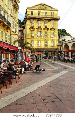 Cours Saleya Buildings And Restaurants, Nice