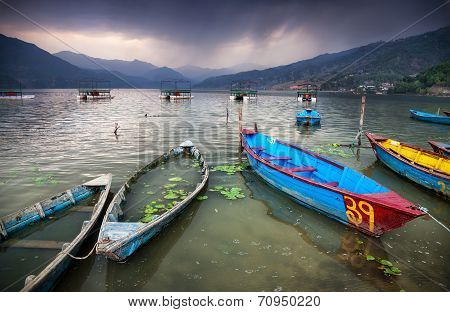 Boats Near Pokhara Lake