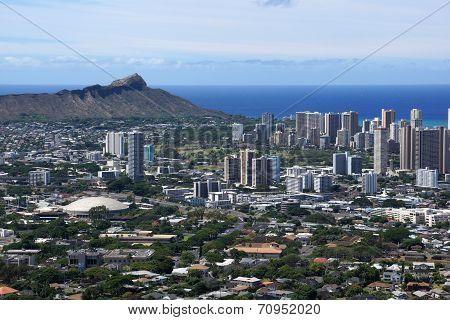 Diamondhead And The City Of Honolulu On Oahu On A Nice Day
