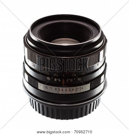 Old film camera manual focus lens on white background. poster