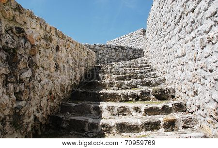 Fortress steps in the town of Travnik located in the Central Bosnian Canton of Bosnia and Herzegovina. Known as Stari Grad it is a national monument and is believed to have been built in the late 14th or early 15th century poster