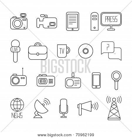 Set of flat colorful vector journalism icons. Mass media. Communication. Illustration consists of computer, news, camera, microphone, radio. Infographics design web elements. poster
