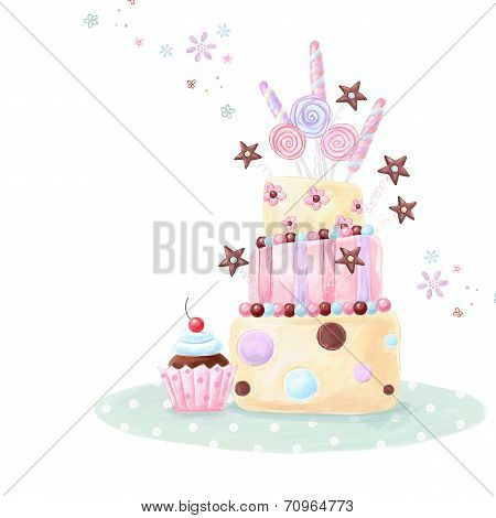 Tea time template design. Illustration made of birthday cake, sweets and cupcake.