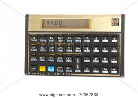 Hayward, CA - August 21, 2014: Hewlett Packard 12c Calculator