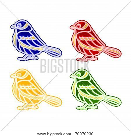 Christmas Trimmings Bird Faience Vector