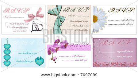 Set Of 6 Rsvp cards