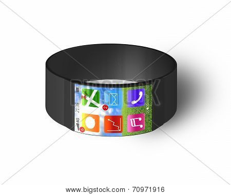 Ultra Slim Bent Interface Smartwatch Isolated On White