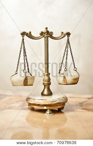 Old golden scale. Vintage balance scales. Scales balance. Antique scales, law and justice symbol poster