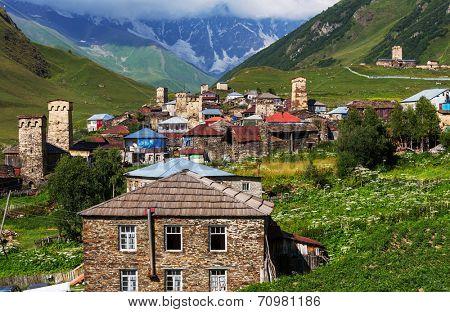 Ushguli village. Caucasus, Upper Svaneti - UNESCO World Heritage Site. Georgia. poster