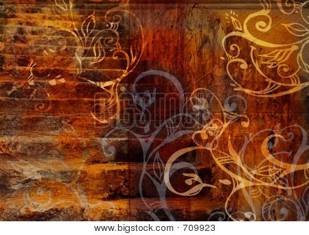 Grunge Swirls Stairs Background