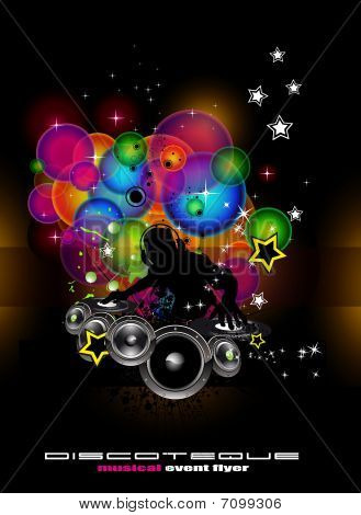 Abstract Light Music Event Background with DJ shape poster