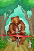 brown bear is racing on the bicycle in the forest poster